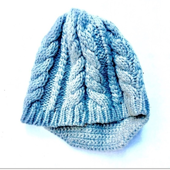 Cableknit Winter Cap With Bill  d3ef3389826
